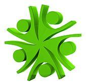 Teamwork company green logo 3D