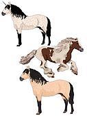 Two wild horses and one unicorn.