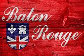 Flag of Baton Rouge, Louisiana, painted on old wood plank backgr