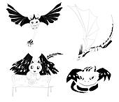 vector set of 4 monsters silhouettes