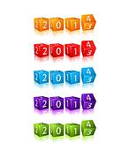 New 2014 Year Numbers on 3d Cubes