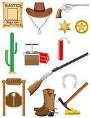 western set icons wild west illustration