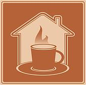 hot cup and house silhouette