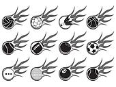 ball with flame icons set