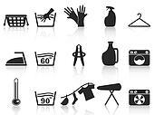 black laundry icons set