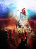Goddess fighting demons