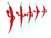 red chilli peppers with arms