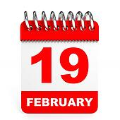Calendar on white background. 19 February.