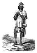 Fulani shepherd, vintage engraving.