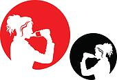 Pictogram - Woman drinking water from a bottle