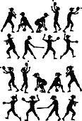 Baseball Softball Kids Silhouettes