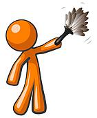 Orange Man Holding Feather Duster, Cleaner or Butler