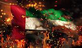 United Arab Emirates Burning Fire Flag War Conflict Night 3D