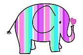 pastel colors stripes elephant