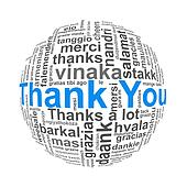 Illustration of wordcloud word tags  ball sphere of thank you