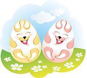 Easter rabbit eggs