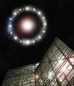 UFO above building