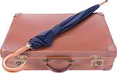 Vintage suitcase and umbrella