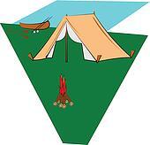 campsite with canoe
