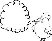chicken with thought bubble