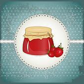 Vintage Postcard - strawberry jam