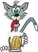 cat and golden beer mug