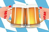 Oktoberfest - Illustration with beer and flag of Bavaria