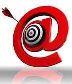 red email symbol  and concept target