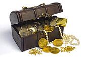 treasure chest with euro money and gold