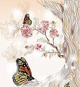hand drawn spring scenery