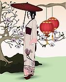 geisha walks in an oriental garden