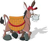 donkey carrying a large basket