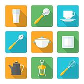 flat style design dinnerware icons set