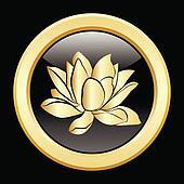 Golden lotus flowers icon