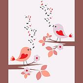 Cute birds singing