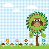 Cute owl sitting on oak