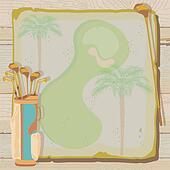Tropical Vintage Golf Invitation