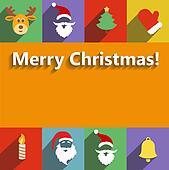 Santa claus and christmas  New  Year flat design long shadows