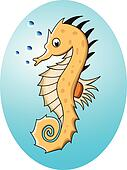 funny cartoon sea horse