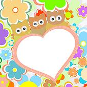 owls in flowers with big heart. vector