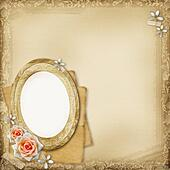 ancient photo album page background with  oval frame and rose
