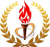 Flaming torch in laurel wreath
