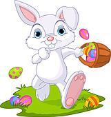Easter. Bunny Hiding Eggs