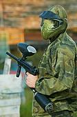 Shooted paintball player