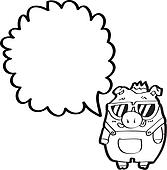 cartoon boar with speech bubble