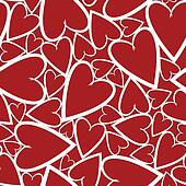 Red seamless pattern with symbol hearts