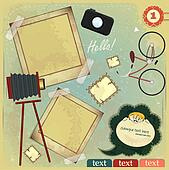 Vintage card - scrapbook elements on grunge background