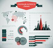 teal and red Vector retro / vintage set of Infographic elements