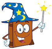 Happy Wizard Book Cartoon Character