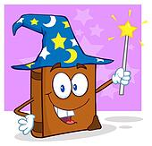 Wizard Book Cartoon Character
